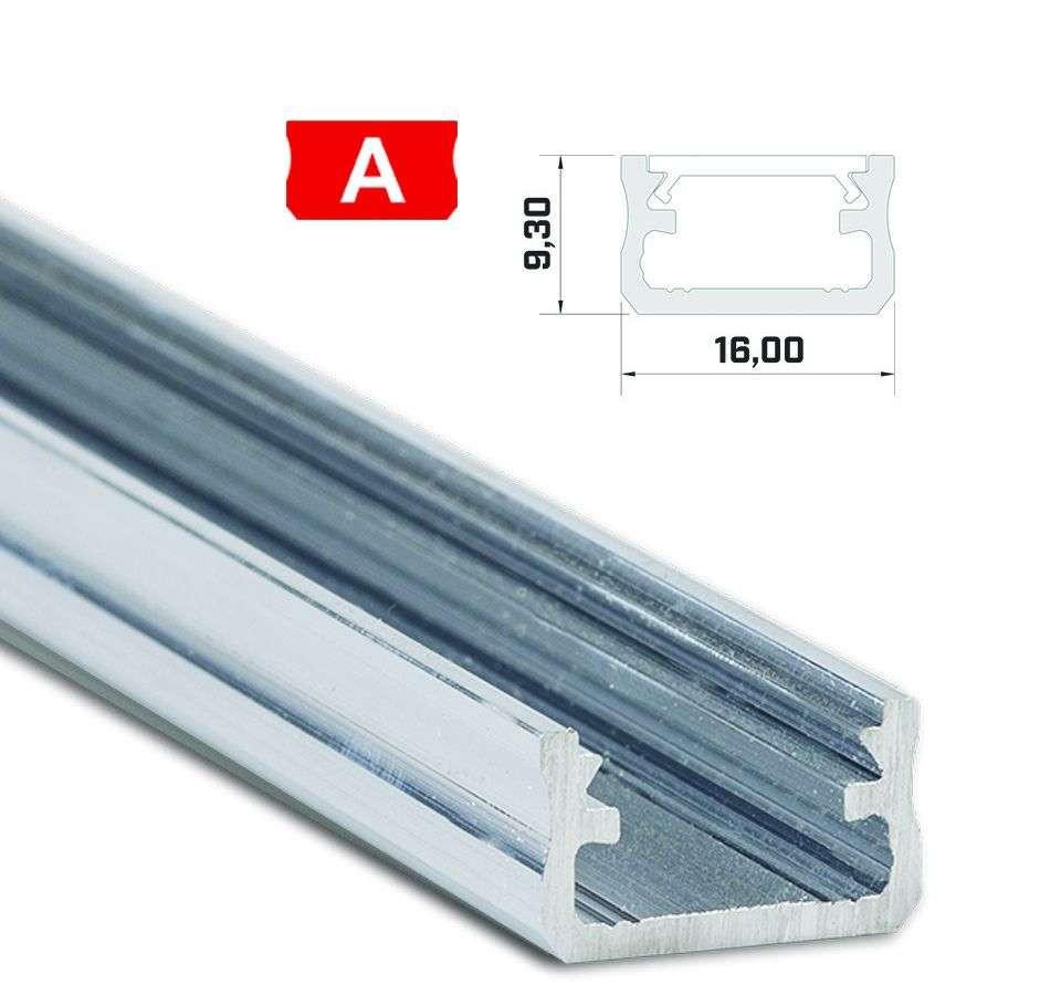 Led profil led szalagokhoz Standard natúr 1 méteres alumínium