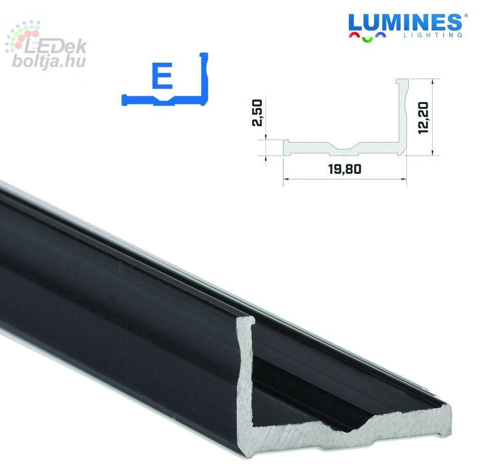 Led profil led szalagokhoz Szélesebb L alakú fekete 2 méteres