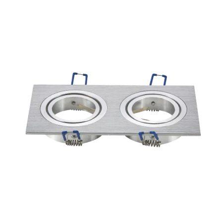 LED spot lámpa beépítő keret szögletes M1030S-02 ezüst GU10 és MR16-os LED izzókhoz