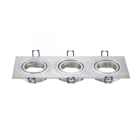 LED spot lámpa beépítő keret szögletes tripla M1030S-03 ezüst GU10 és MR16-os LED izzókhoz