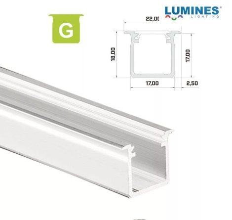 Led profil led szalagokhoz Beépíthető Mély fehér 2 méteres alumínium