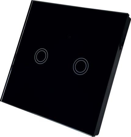 WiFi smart kapcsoló fekete 2 csatornás
