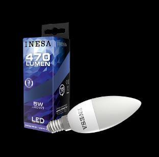 INESA E14 5W 160° LED gyertya izzó 3000K G2 470Lm