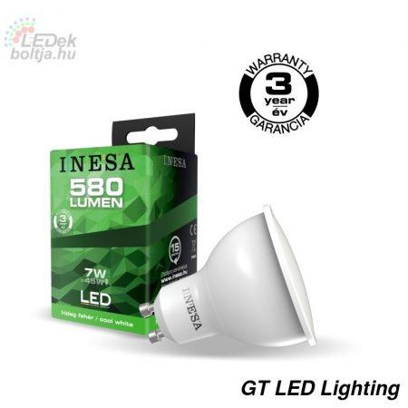 LED spot izzó GU10 INESA 7W 38°  6500K G2 580Lm