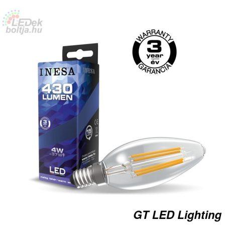 INESA E14 4W Filament LED gyertya izzó 2700K G3 430Lm