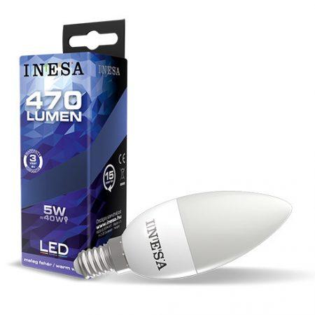 LED izzó E14 5W 160° LED gyertya izzó 4000K G3 470Lm