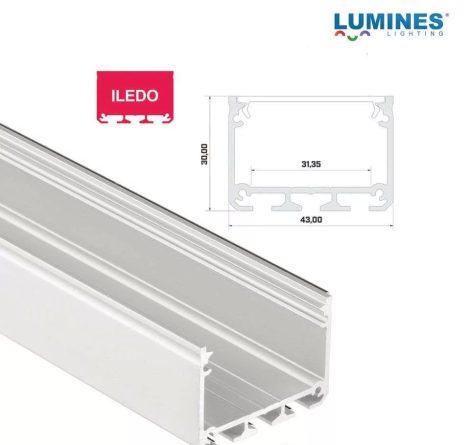 Led profil led szalagokhoz Széles Magas Fehér 2 méteres alumínium