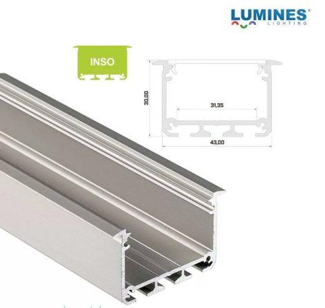 Led profil INSO led szalagokhoz Beépíthető Széles Mély Ezüst 1 méteres alumínium