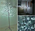Cseresznyevirág fa LED világítással 180 cm kültéri hideg fehér
