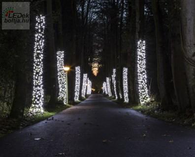 LED karácsonyi háló világítás kültéri hideg fehér